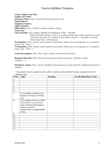 Course Syllabus Template - Institutional Research (Office)