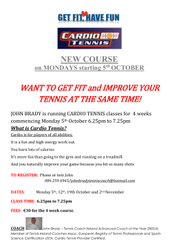 Cardio Monday Nights - Wicklow Tennis Club