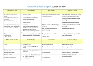 Export Business English course outline