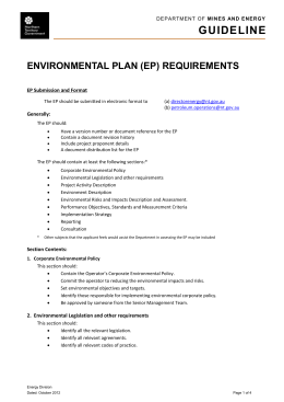 Environmental Plan Requirements