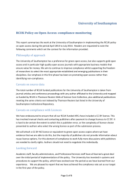 University of Southampton RCUK Policy on Open Access
