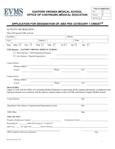 EVMS CME Application - Eastern Virginia Medical School