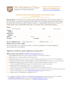 Postdoctoral Fellowship Application Form: Part 1