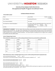 Occupational Health Program Enrollment Form
