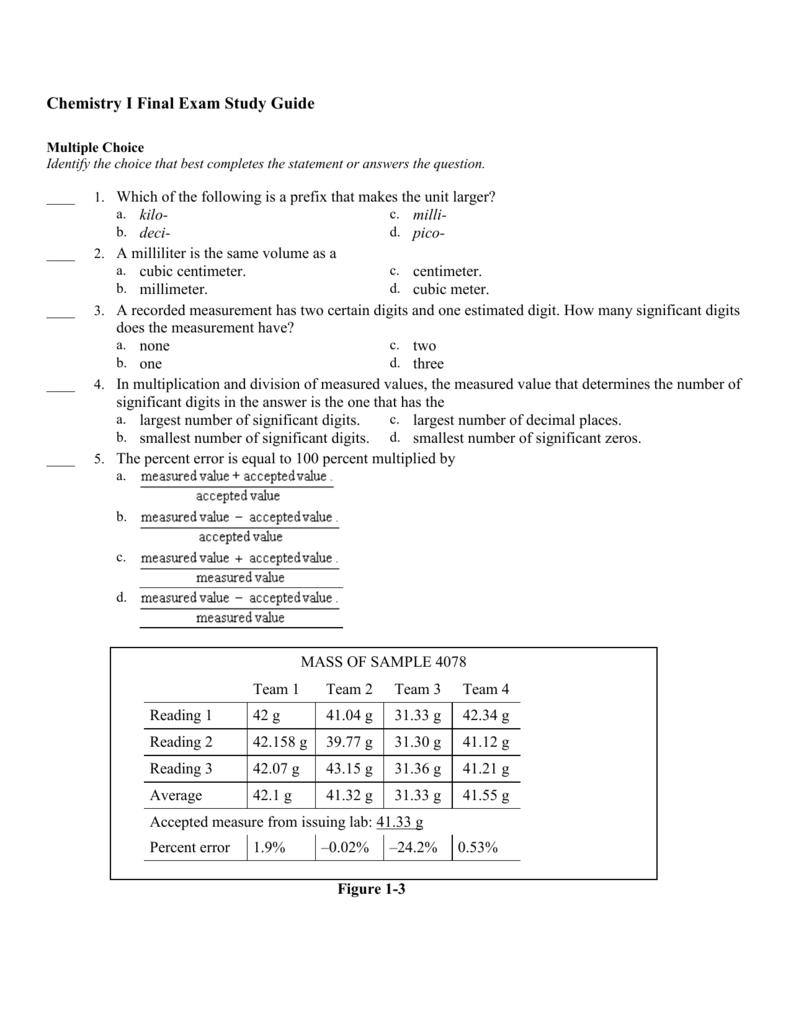 Chemistry I Final Exam Study Guide Answer Section