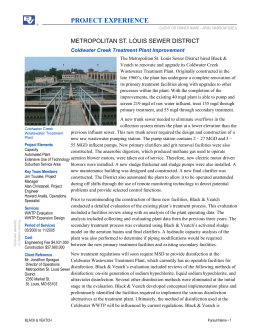 Coldwater Creek Wastewater Treatment Plant Improvement