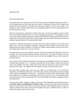 Head`s welcome letter - David Ross Education Trust