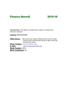Finance Honors Syllabus