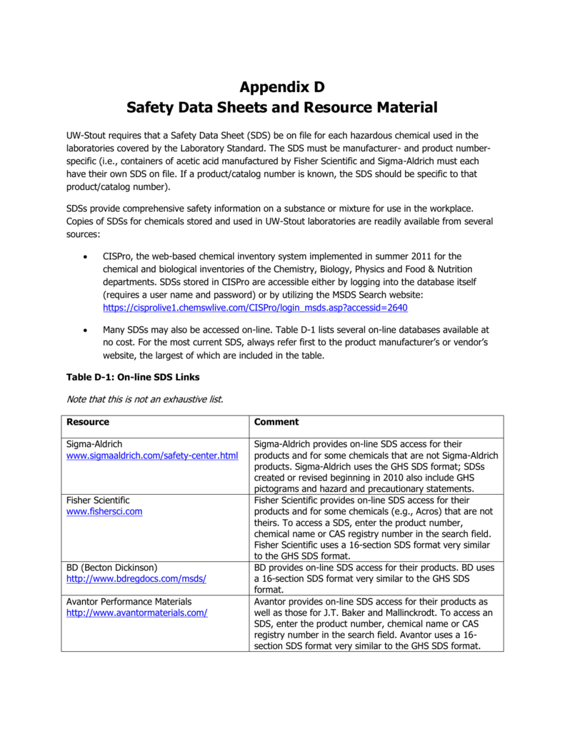 Safety Data Sheets and Resource Material