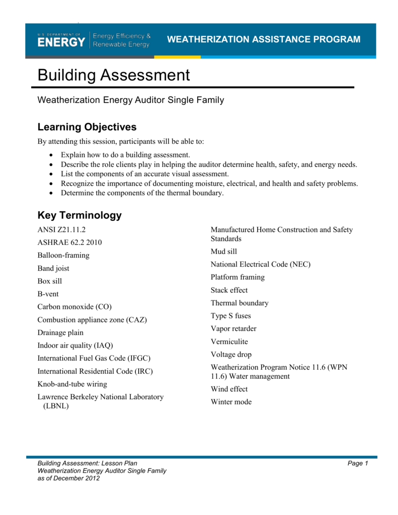 Building Assessment Weatherization Assistance Program House Wiring Terminology