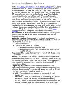 New Jersey Special Education Classifications