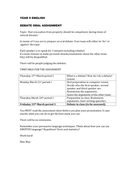 YEAR 9 ENGLISH stay or go debate assignment