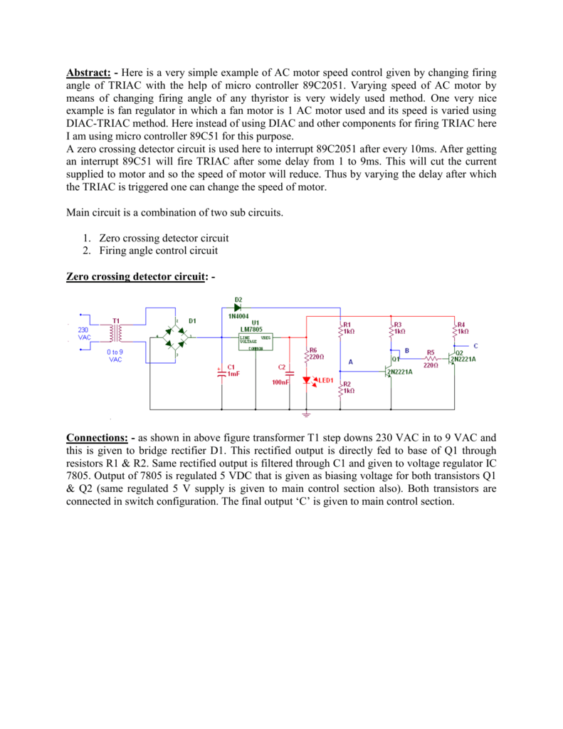 Abstract Here Is A Very Simple Example Of Ac Motor Speed Control Zero Crossing Circuit