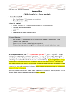 Lesson Plan CTM Training Series – Room standards