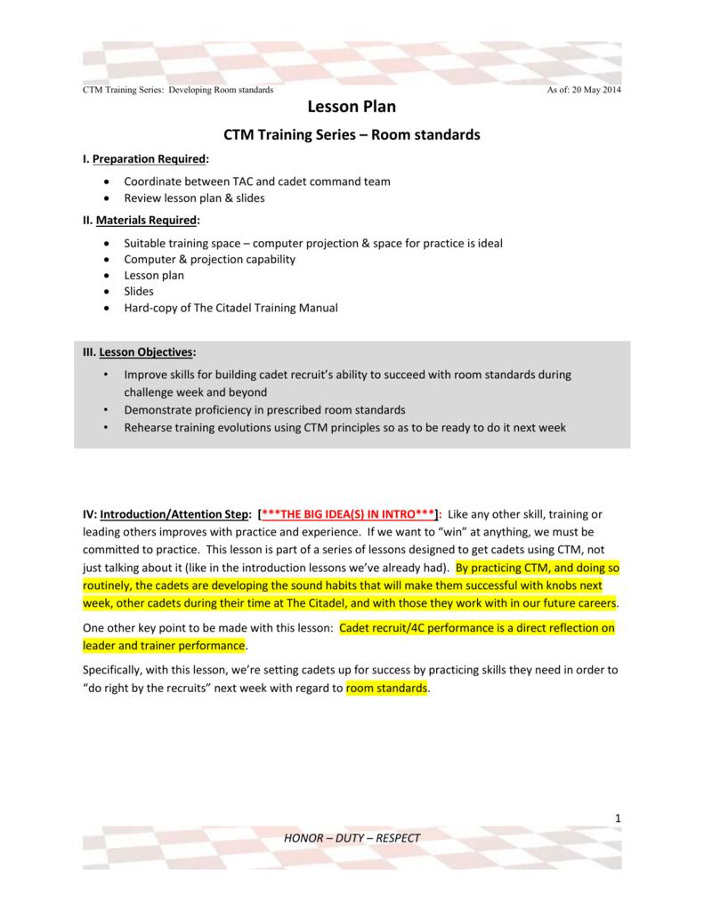 Lesson Plan CTM Training Series – Room standards