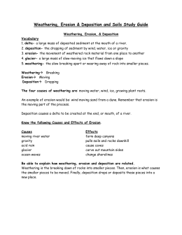 soil, weathering, erosion, deposition study guide