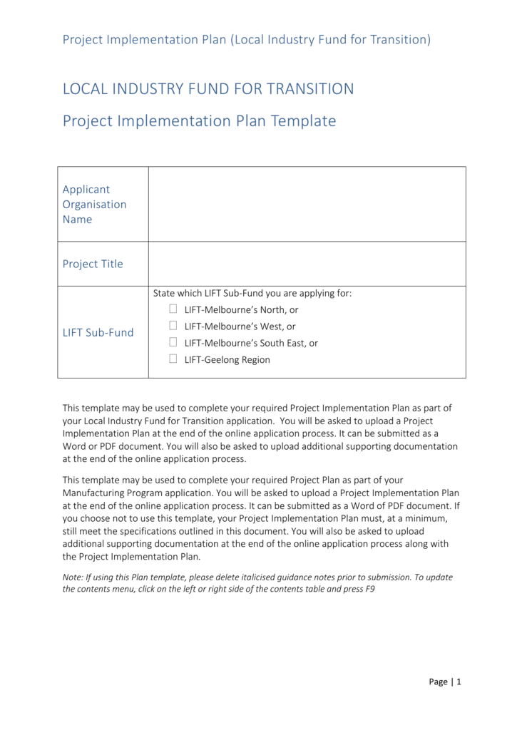 Lift Project Implementation Plan Template Docx 8637 Kb