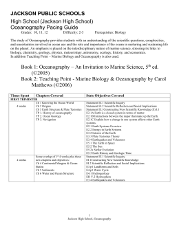 Oceanography Pacing Guide