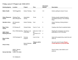 Friday June 21 Project List- DOA 2013 Hosting Agency: Location
