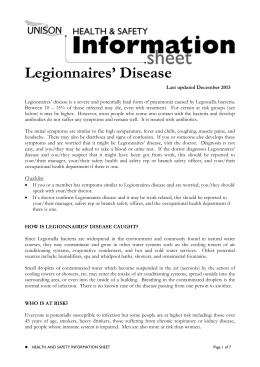 Legionnaires Disease Information Sheet