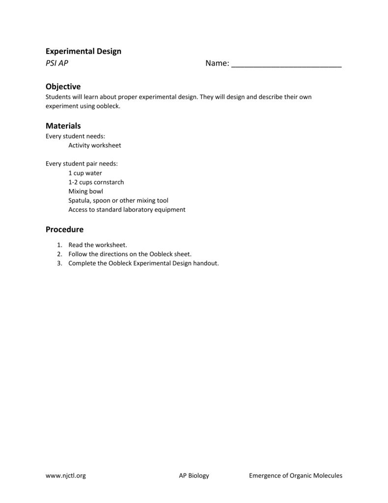worksheet Design An Experiment Worksheet experimental design new jersey center for teaching and learning