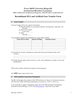 Recombinant DNA and Artificial Gene Transfer Form