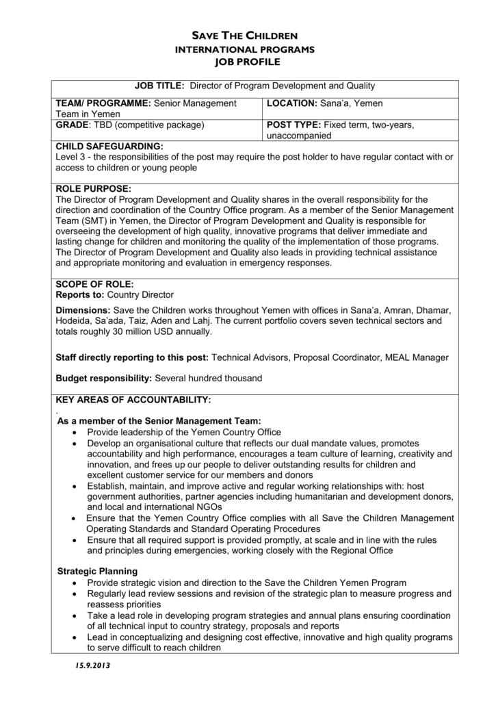 Job description - Save the Children