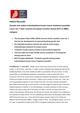 Laura van `t Veer Wins European Inventor Award 2015!