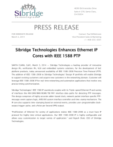 Sibridge Technologies Enhances Ethernet IP Cores with IEEE 1588