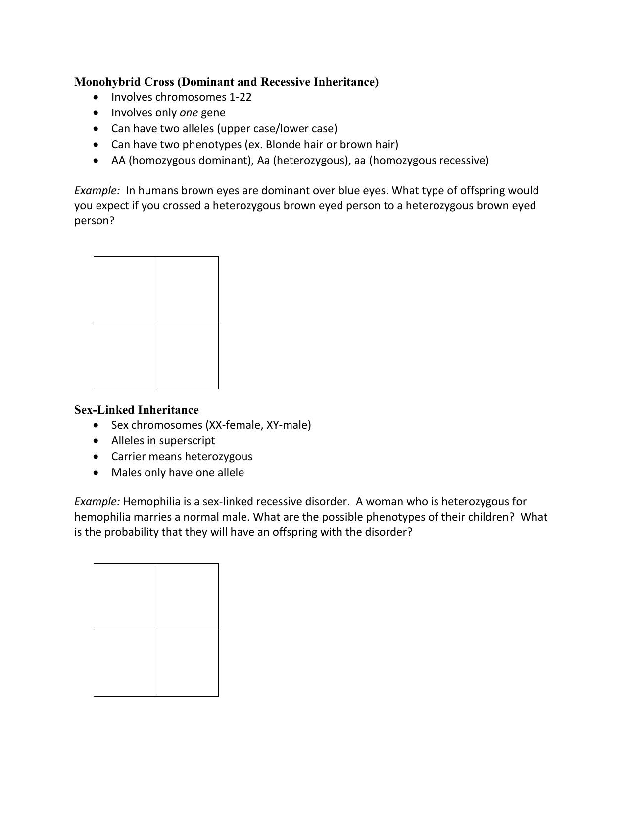 Punnett Square Examples (Notebook)