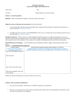 Lesson Plan Template (Short Version)