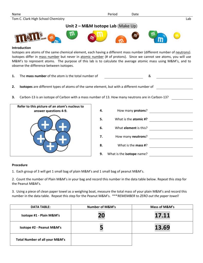 Unit 2 – M&M Isotope Lab
