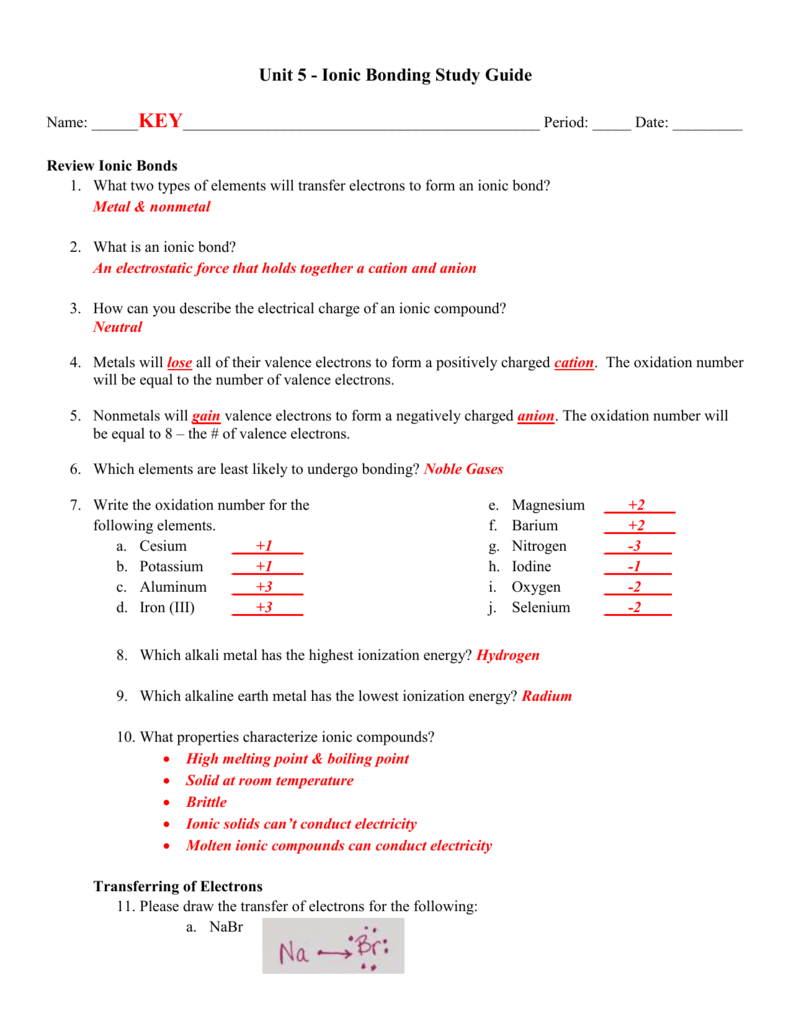 Unit 5 - Study Guide KEY