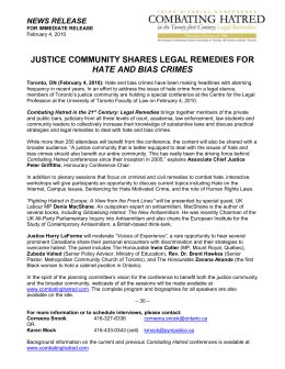 justice community shares legal remedies for hate and bias crimes