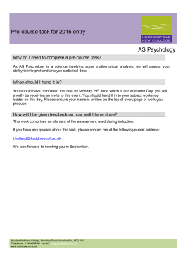 Psychology - Huddersfield New College