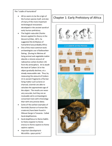 "Chapter 1: Early Prehistory of Africa The ""cradle of humankind"