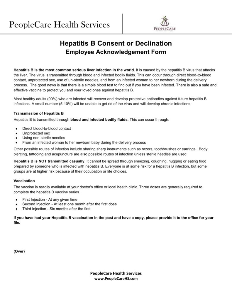 Verification of Hep B Acknowledgment Form