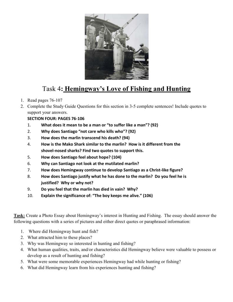 Hemingway`s Love of Fishing and Hunting
