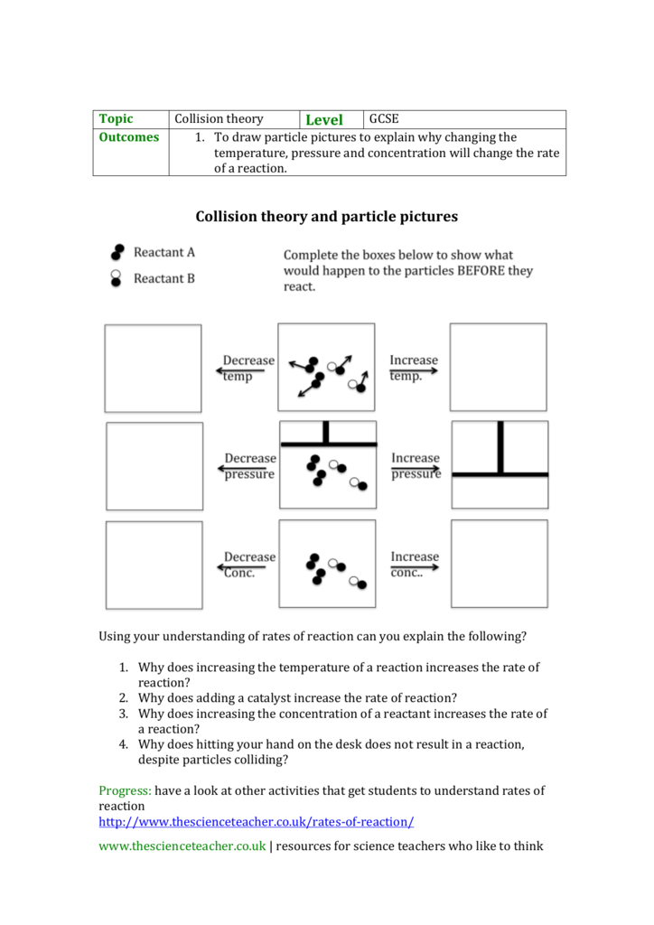 Collision Theory Worksheet Gallery For Kids Maths Printing. Gcse Worksheet Using Particle S To Explain Changes In Rates. Worksheet. Reaction Mechanisms And Collision Theory Worksheet At Clickcart.co