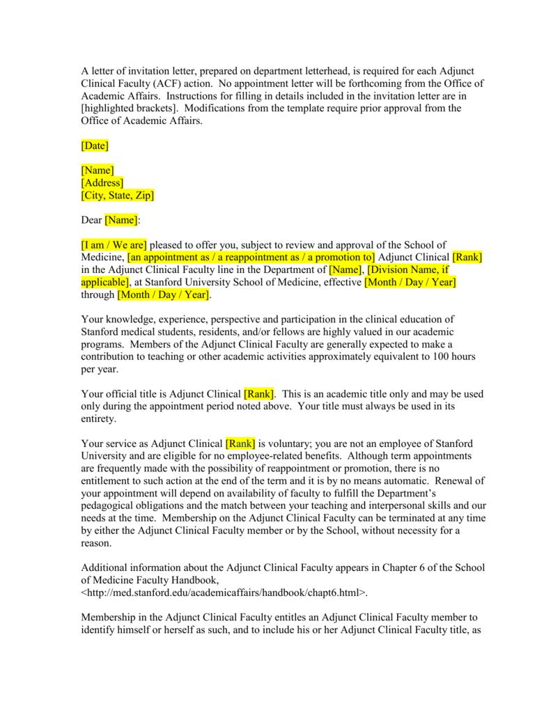 Letter Of Invitation Stanford University School Of Medicine