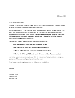 9th Grade Parent EOC Letter