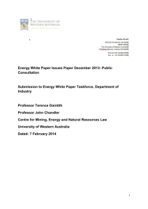 7 February 2014 Scope of the Submission and Executive Summary