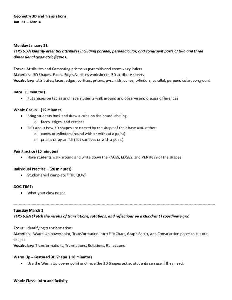 Geometry 3D and Translations LP 10-11