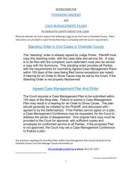 Charlotte County Agreed Case Management Plan and Order And