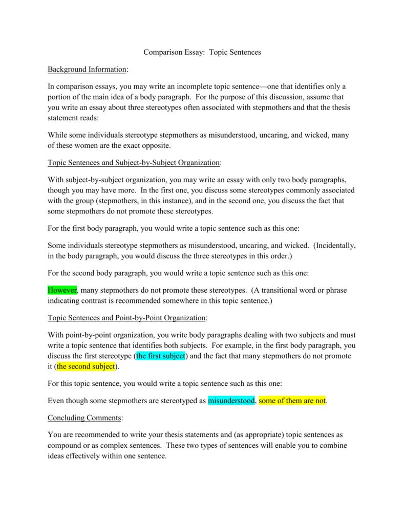 comparison essay topic sentences