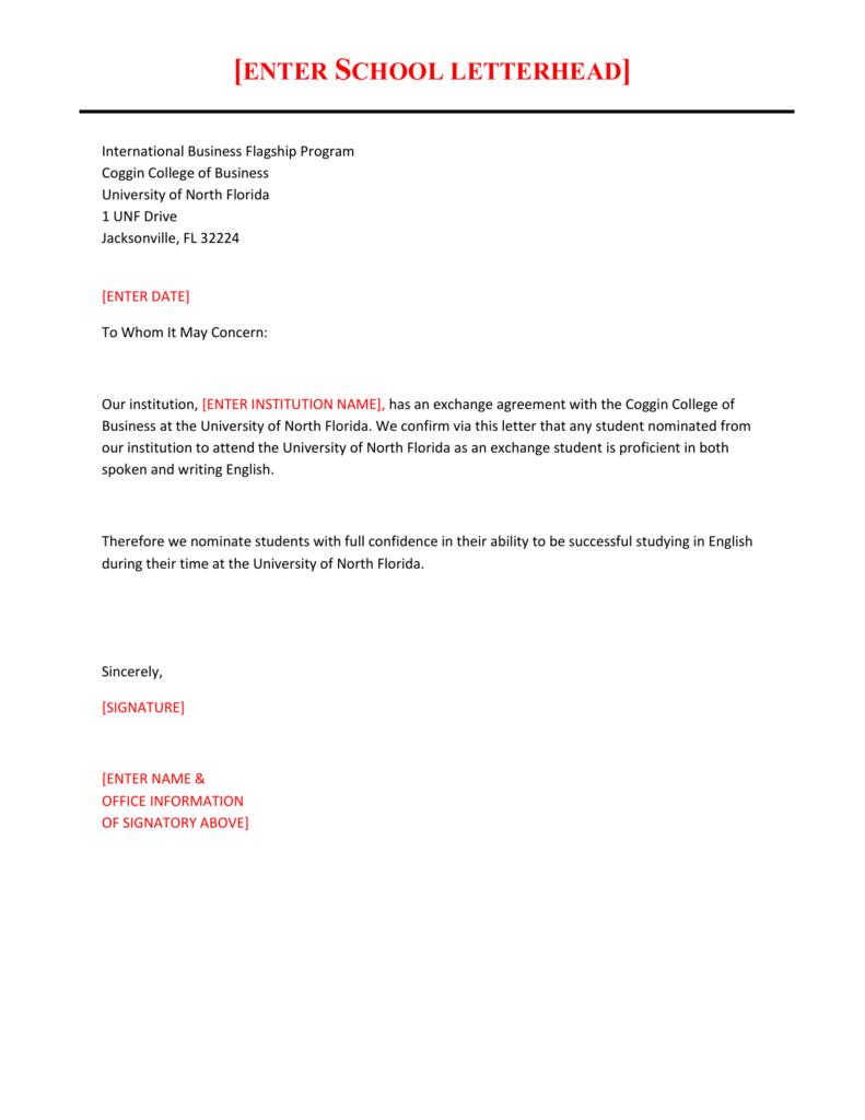 English Language Proficiency Draft Letter