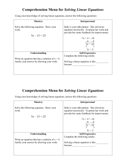 Comprehension Menu for Solving Linear Equation1