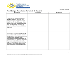 Royal College - Accreditation Worksheet – B Standards