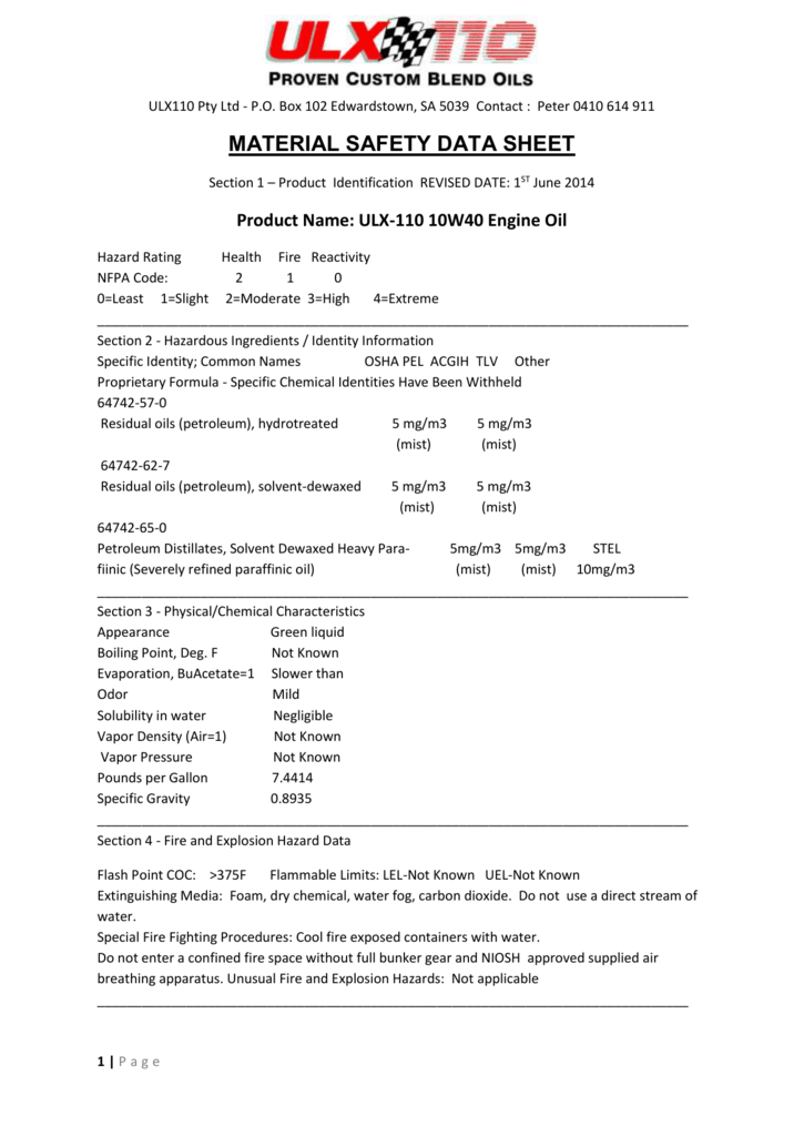 MSDS Click here - ULX110 Motor Oil