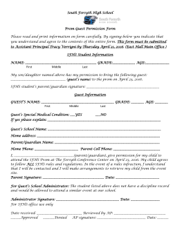 Prom 2015 Guest Permission Form